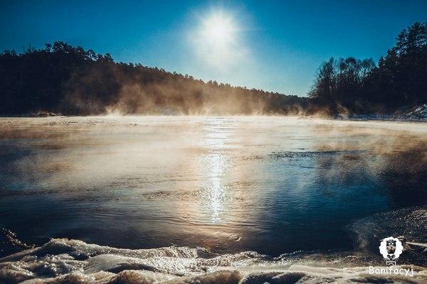 Гродно. Неман. Беларусь, Гродно, Неман, река, мороз, снег, зима