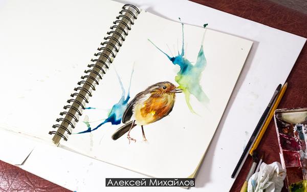 Птица акварель, размер листа а4 Птицы, Акварель, Рисунок, Брызги, Цвет, Животные, Арт, Художник