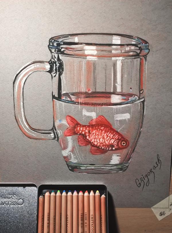 Кружка с рыбкой Пастельные карандаши, Пастель, Моё, Рисунок