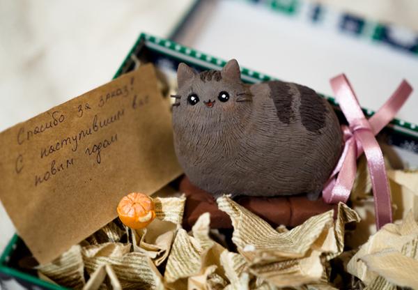 Кошара из глины кот, pusheen, рукоделие, благодарность, длиннопост, не мое, гифка