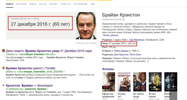 Брайан Крэнстон умер? Брайан Крэнстон, Хайзенберг, Breaking bad