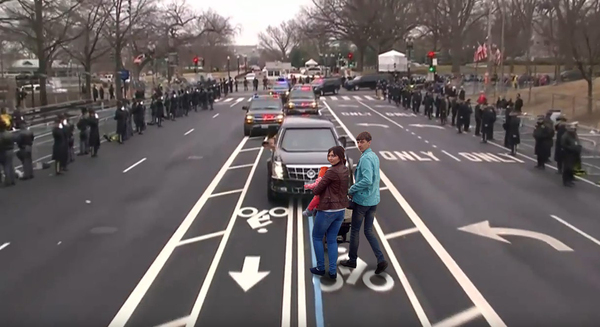Президентский кортеж и велосипедная дорожка