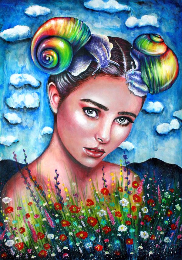 Summer rain картина, девушки, цветы, творчество, рисунок, Улитка, арт, радуга