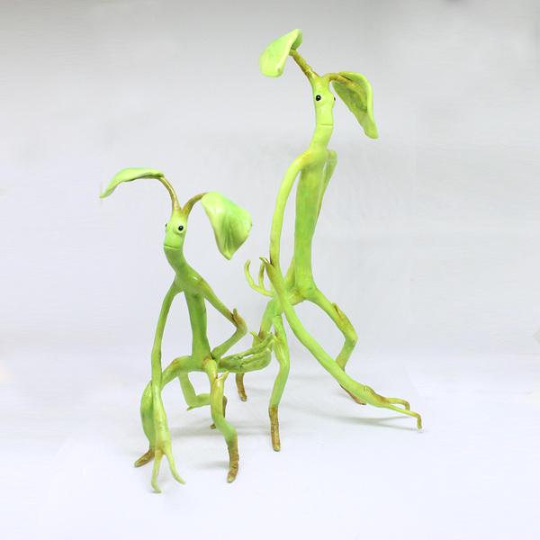 Парочка лукотрусов/лечурок (Bowtruckle) полимерная глина, своими руками, фигурка, Гарри Поттер, фантастические твари, длиннопост