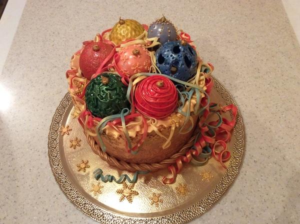 Моя новогодняя тема. Торт Коробка с елочными шарами. торт, мастика, Новый Год, праздники, сувенир, детям, елочные игрушки, Дед Мороз, длиннопост
