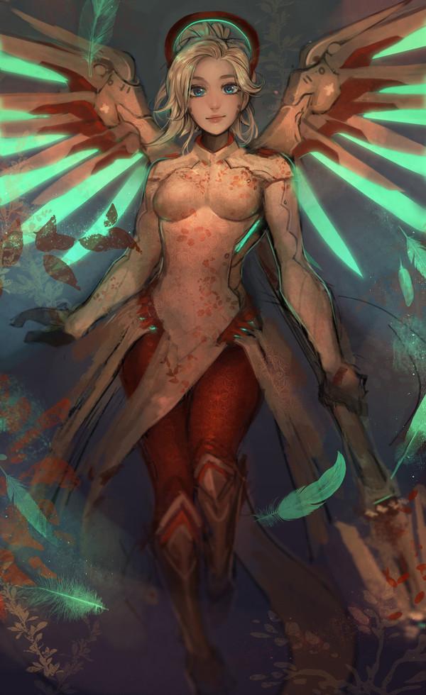 Битва за Мерси! Overwatch, Mercy, Genji, Pharah, Красивая девушка, Любовный треугольник, Батл, Длиннопост