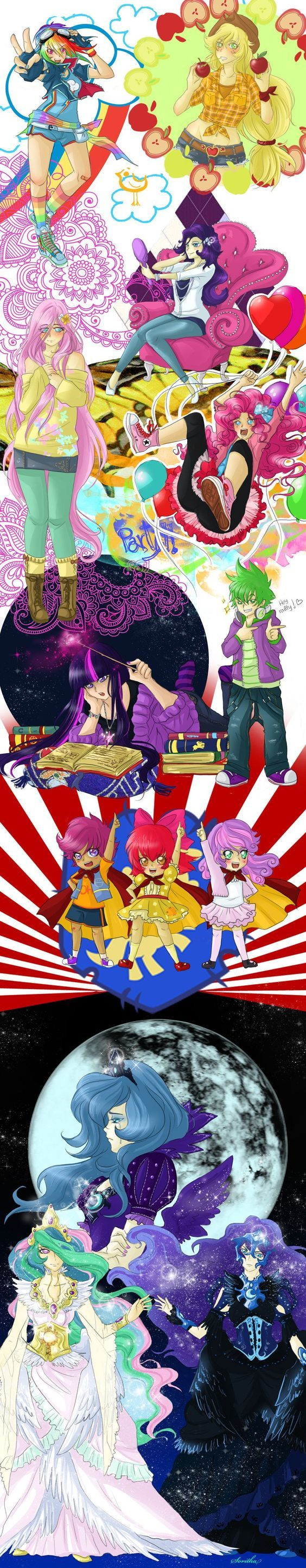 В далекой-далекой Вселенной... mane 6, princess luna, Princess Celestia, Cutie Mark Crusaders, Хуманизация, длиннопост, my little pony