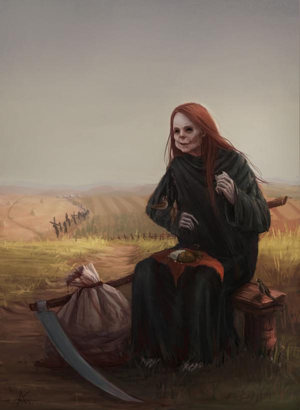 Обеденный перерыв рисунок, смерть с косой, цифровой рисунок, 2d digital, моё