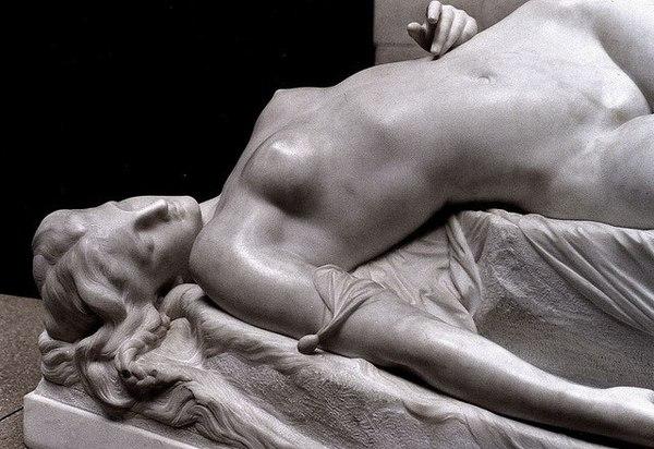 «La Jeune Tarentine», Alexandre Schoenewerk, Musee d'Orsay, Paris, France, 1871. Мрамор, Academic Sculpture, Длиннопост