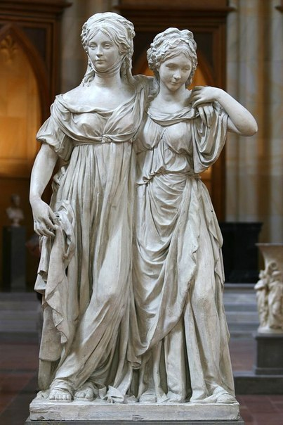 Crown Princess Louise and Princess Frederica of Prussia, Johann Gottfried Schadow, Nationalgalerie, Berlin, Germany, 1797. Мрамор, Academic Sculpture, Длиннопост