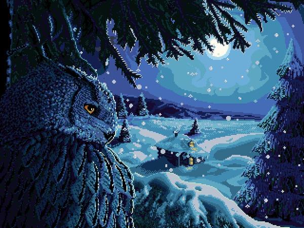 Филин Pixel Art, Pixelgif, Филин, Сова, Зима, Анимация, Моё, Гифка, Coub