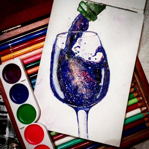 Бокал вселенной, пожалуйста! Акварель, Вселенная, Младшая Академия Художников, Рисование, Рисунок