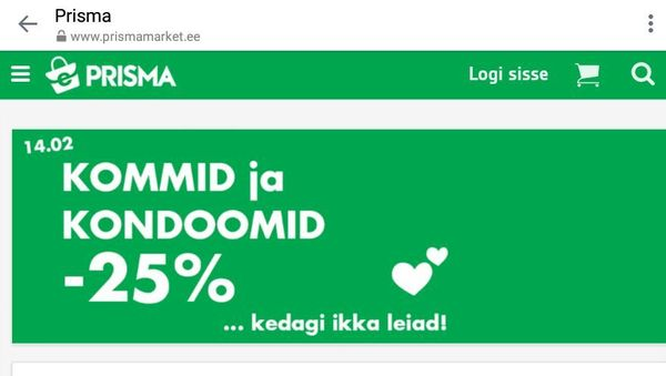 Акция ко дню друга в одной сети эстонских магазинов Маркетинг, Эстония, Магазин, Скидки, День святого валентина