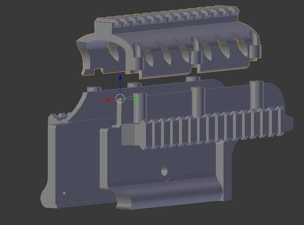 Страйкбол и 3D-печать. Обвес для M249 3DAXE, 3d печать, Страйкбол, пулемёт, M249, накладки, RIS-планка, длиннопост