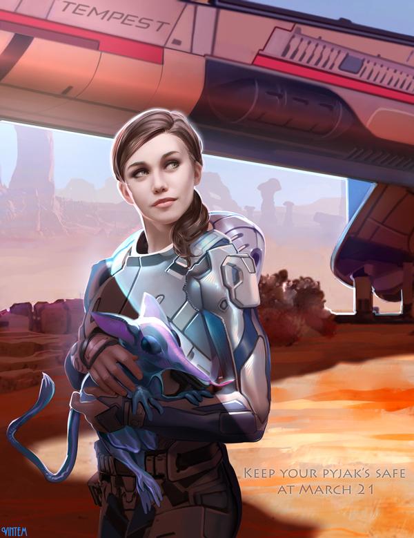 Сара Райдер Mass effect, Andromeda, Game art, Vintem, Рисунок, SAI