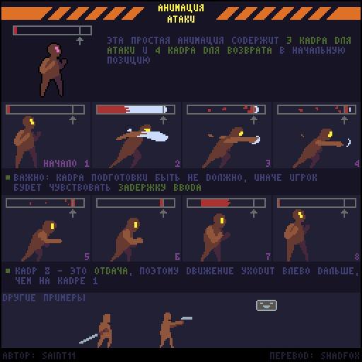 Анимация простой атаки Перевод, Pixel Art, Gamedev, Руководство, Saint11, Гифка