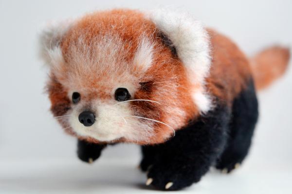 Красная панда из шерсти шерсть, войлок, панда, Красная панда, рукоделие, длиннопост