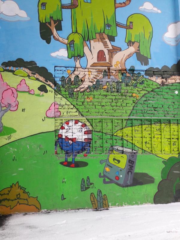 Время приключений во дворах Алматы Граффити, Adventure time, Алматы, Народное творчество, Длиннопост