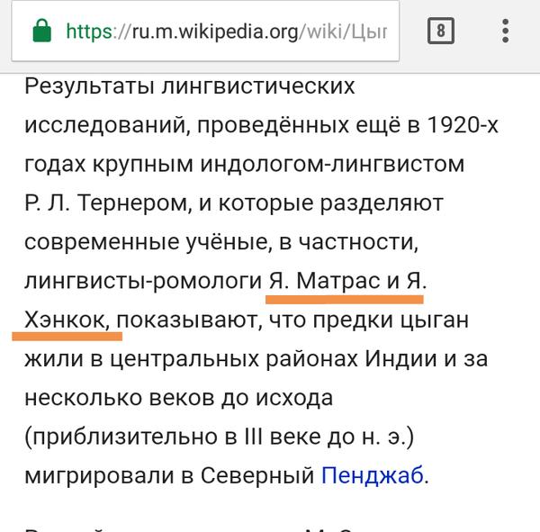 Матрас Хэнкокович Цыгане, Ненавижу бл*дь цыган, Википедия