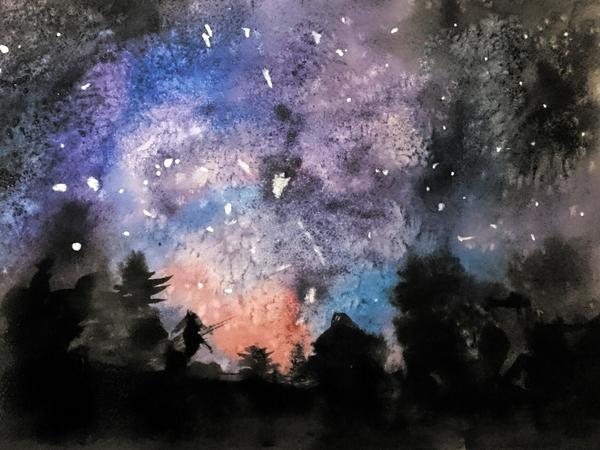 """Накипело.. """"Ночной лес"""" Саша, 7 лет. Ученики, Акварель, Художник"""