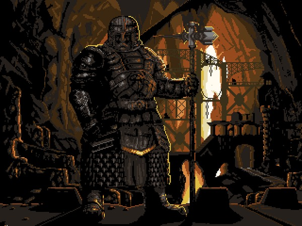 Страж горы Pixel art, гифка, Гномы, dwarf fortress, фэнтези, горы, моё, coub