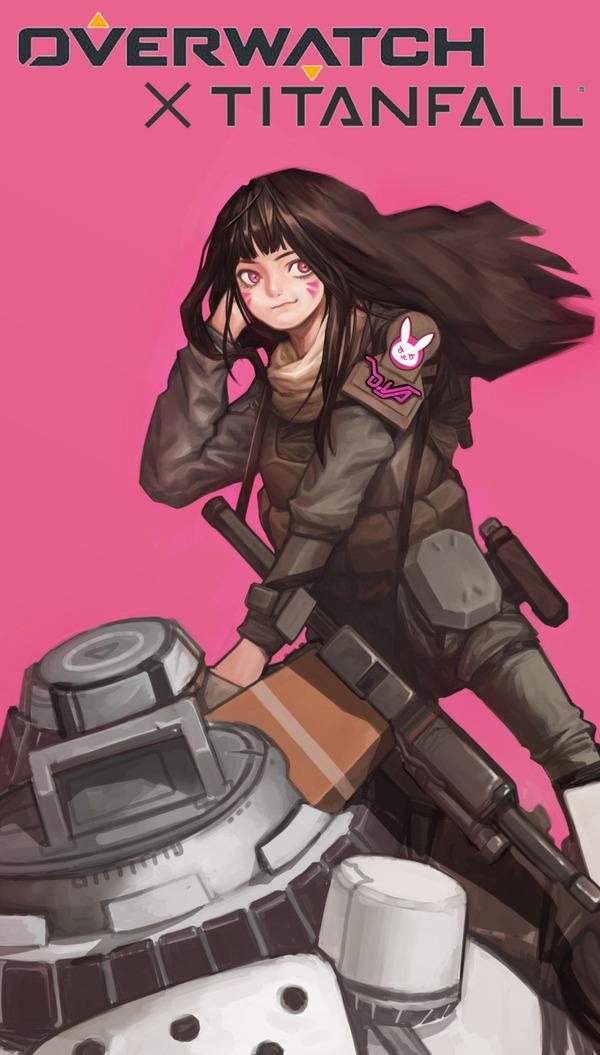 Дива и её новый Титан Overwatch, Crossover, Titanfall, Dva, Игры, Арт, Nerf This, Длиннопост