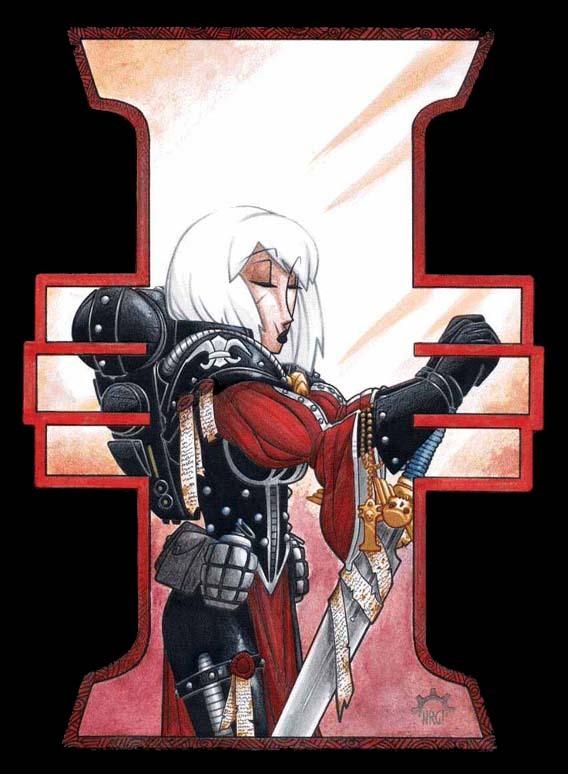 Сороритки Adepta Sororitas, Warhammer 40k, Sister of Battle, Battle Sister, Девушки, Wh art, Длиннопост