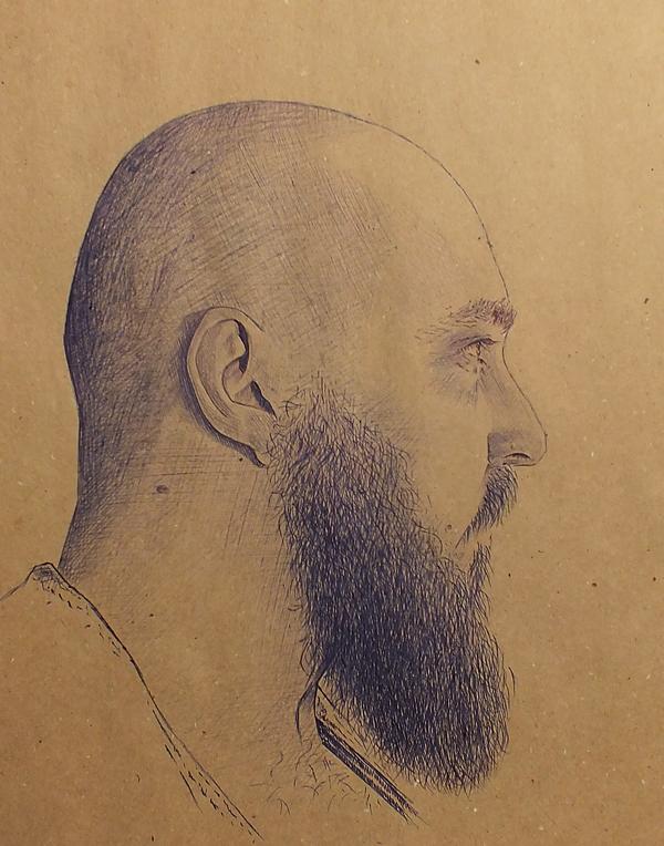 Портрет шариковой ручкой автопортрет, шариковая ручка, моё