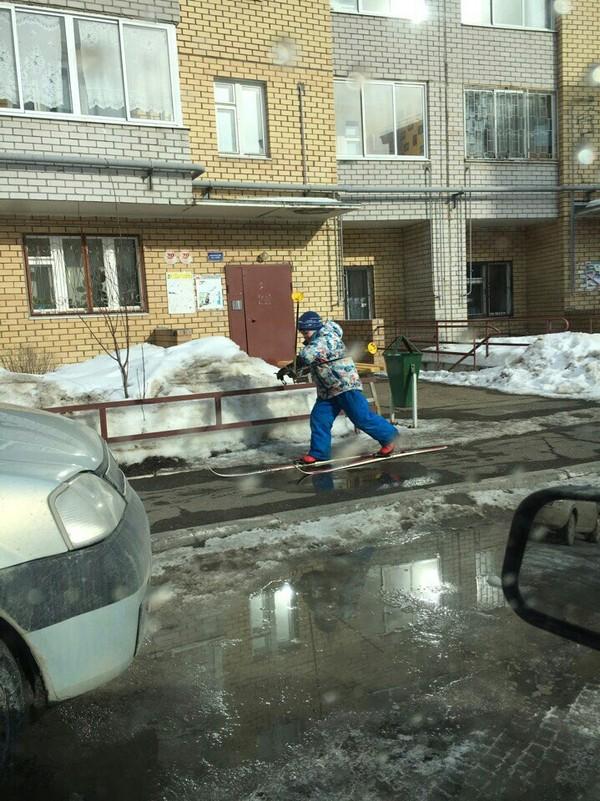 Где-то в Перми Стою на асфальте, Толи я дурак толи лыжи не едут, Пермь, Лыжники, Длиннопост
