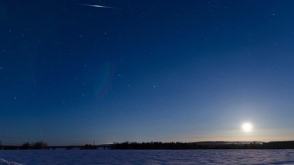 Луна, Юпитер и вспышка Иридиума Небо, космос, Вспышка иридиума, луна, юпитер, астрономия, фотография