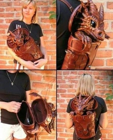Кожаный рюкзак в виде дракоши