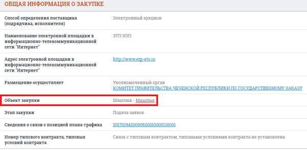 Правительство Чечни накормит гостей ШАШЛЫКОМ-МАШЛЫКОМ (без шуток) Чечня, Шашлык, Госконтракт, Тендер