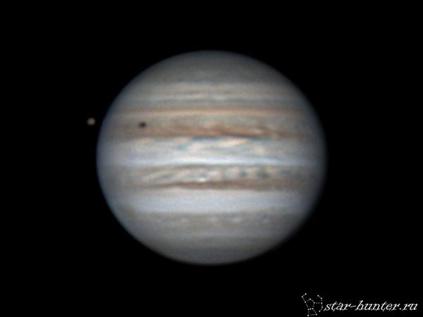 Ио и Юпитер, 13 марта 2017 года, 1:19. Юпитер, астрофото, планета, астрономия, космос, StarHunter, КраснодарБалкон, гифка