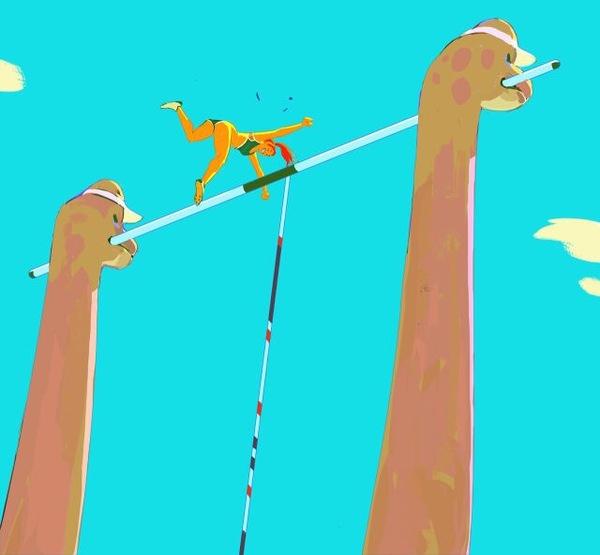 Динозавры, спорт и девушки Девушки, Арт, Динозавры, Рисунок, Спорт, Длиннопост