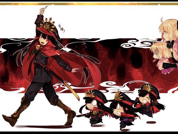 Сакура Сейбер и Демон Арчер Арт, Anime Art, Type-Moon, Fate Grand Order, Saber Sakura, Demon Archer, Длиннопост