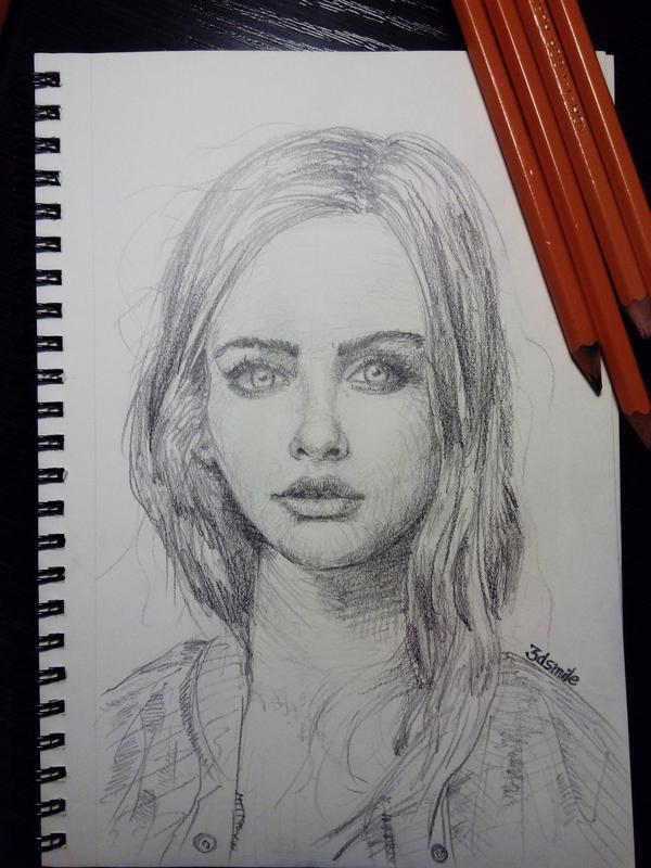 Рандомный портрет Рисунок, Девушки, Пятничный тег моё, Портрет, Рисунок карандашом