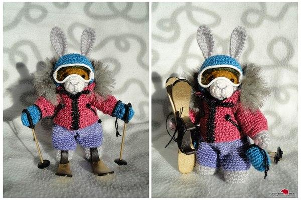 Мои зимние звери сувениры, вязание, рукоделие, зимний спорт, лыжи, сноуборд, медведь, заяц, длиннопост