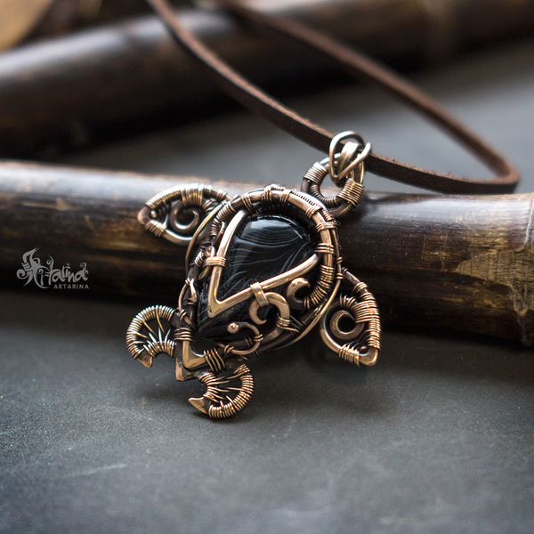 Черепашка) wire wrap, кулон, черепаха, ручная работа, творчество, арт, длиннопост