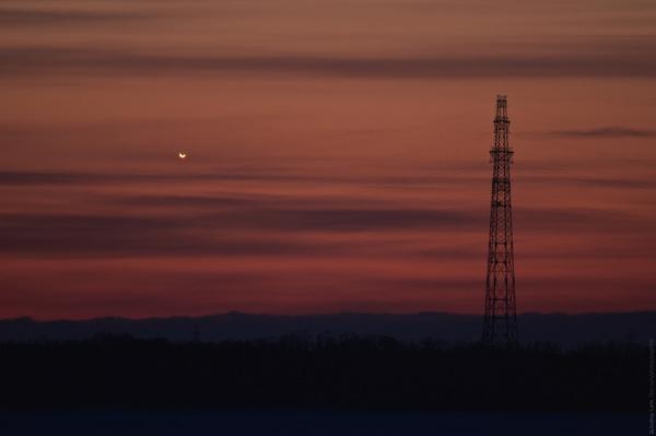 Венера на закатном небе фотография, телескоп, астрономия, венера, архангельск
