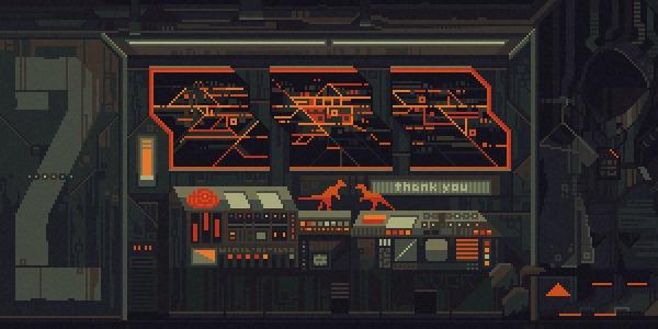 Spaceship Pixel art, Гифка, Арт, Научная фантастика