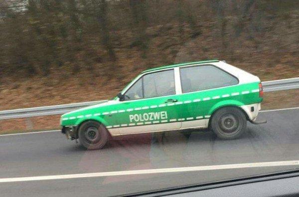 Обнаглевший немецкий водила или окраска машины на грани фола :-) Полиция, Polizei, VW Polo, Расцветка, Машина, Германия, Прикол
