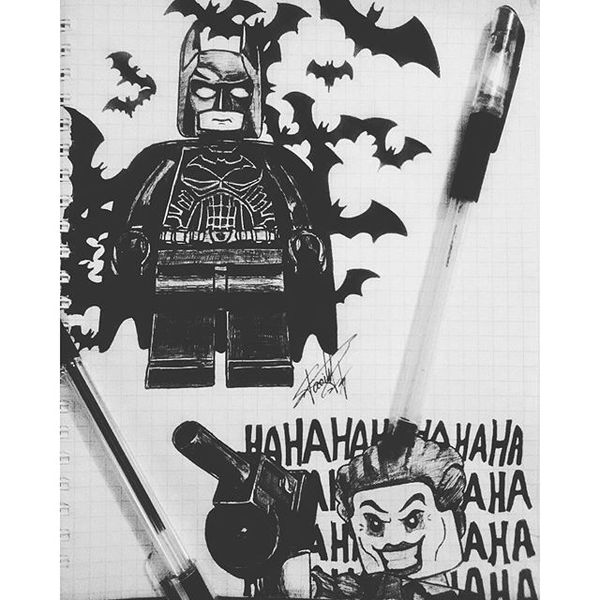 Рисунок по мотивам Lego Batman. Рисунок, Арт, Бэтмен, Джокер, Lego, Batman