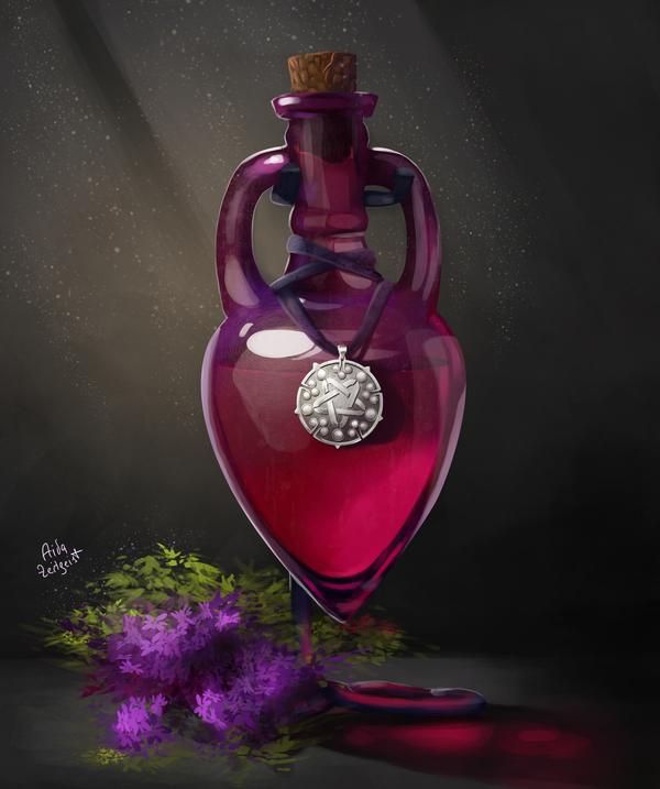 Крыжовник терпкий, сладкая сирень Бутылка, Йеннифер, Ведьмак, Ведьмак 3, The Witcher 3:Wild Hunt, Медальон