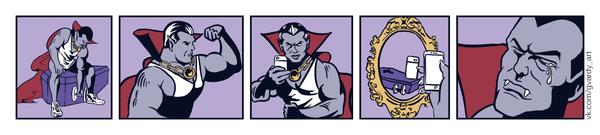 Dracula May Cry Комиксы, веб-комикс, Gvardy, дракула, гантеля, селфи, печаль