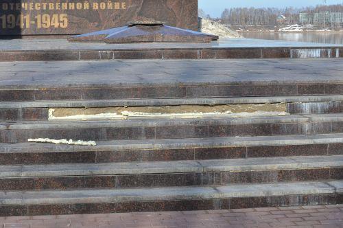 Мемориал Вечный Огонь реконструируют монтажной пеной Рыбинск, Вечный огонь, Реконструкция