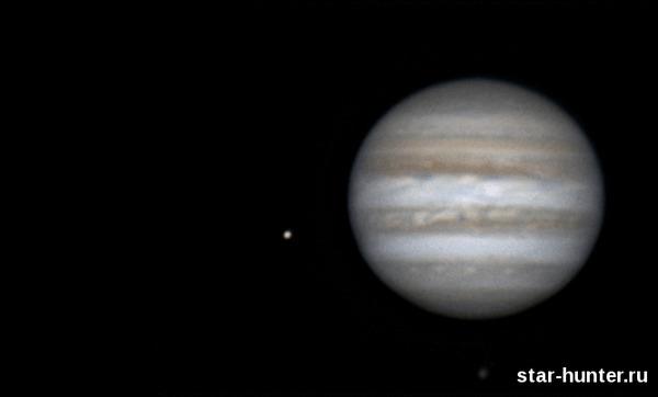 Юпитер со спутниками, 30 марта 2017 года, 00:23. Юпитер, астрономия, астрофото, космос, Ио, Каллисто, starhunter, АнапаДвор, гифка