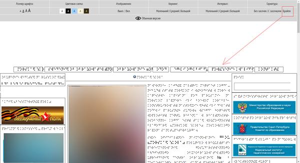 Шрифт брайля на сайте... Сайт, шрифт, госорганизация