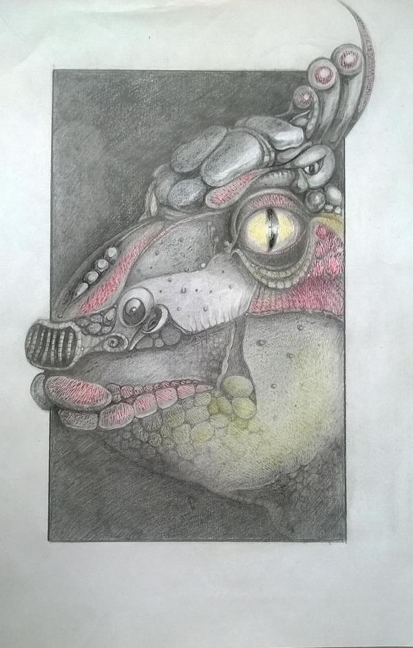 Я был в плохом настроении. Вот результат... рисунок, динозавры, карандаш, гелевая ручка, творчество