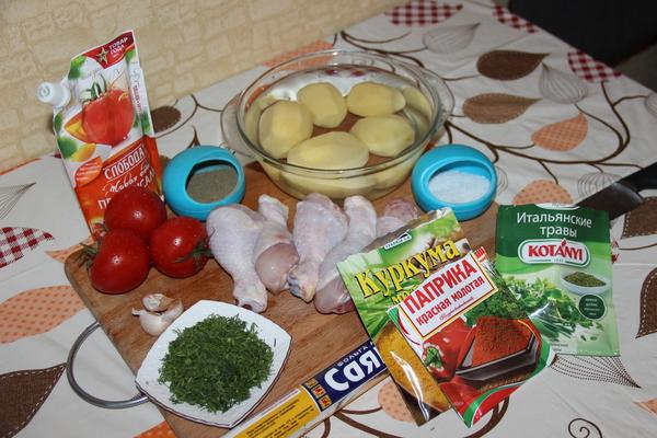 Куриные ножки в мешочках из фольги курица, рецепт, помидор, картофель, чеснок, вкусно, рецепты курицы, на каждый день, длиннопост