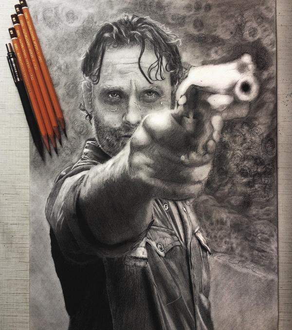 Рик Граймс. Портрет карандашом.